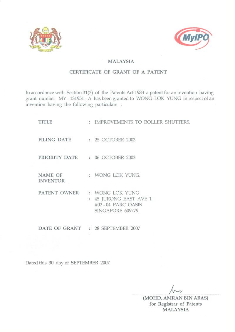 Product Patents Gliderol Doors Singapore